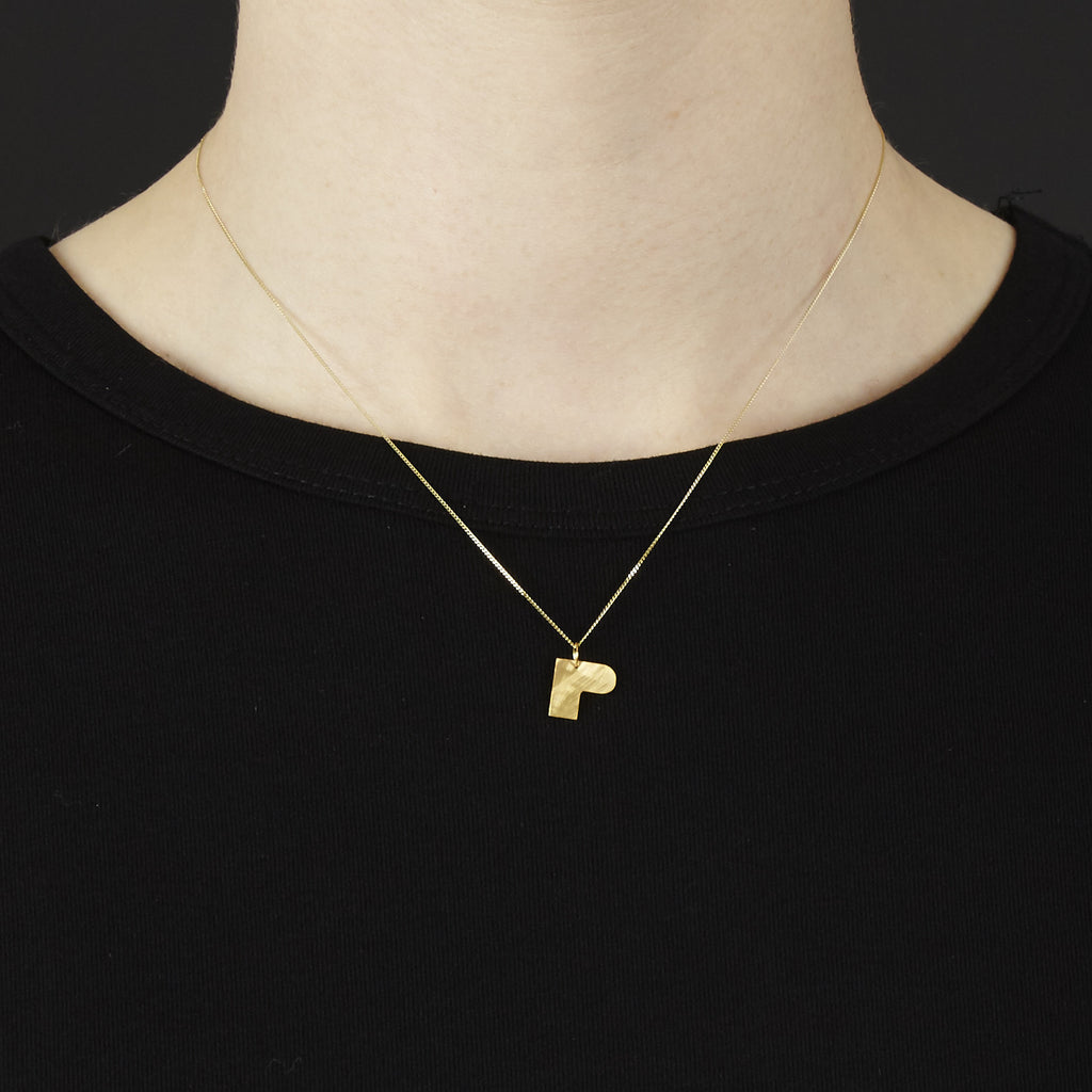 Bauhaus Alphabet Pendants Gold