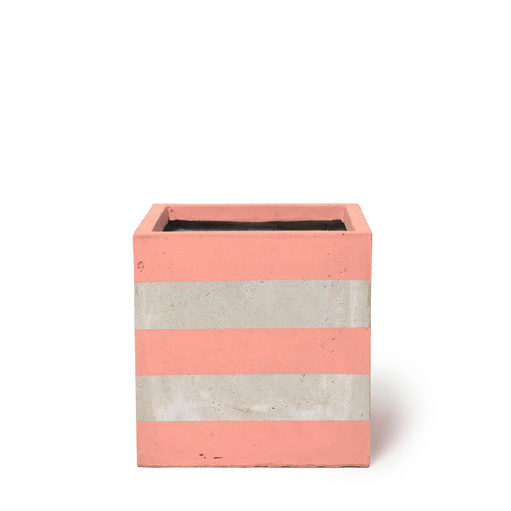 Play Pot Small Concrete Coral Stripe