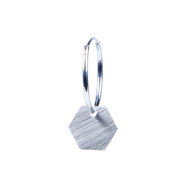 Geometry Earring — Silver Hexagon