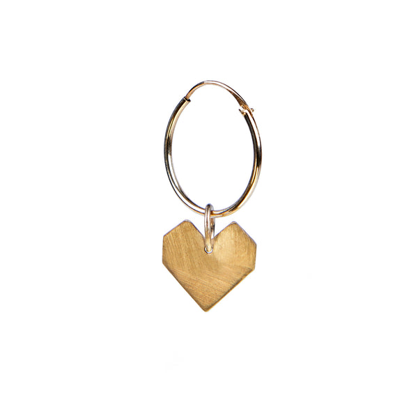 Darkroom Bauhaus 9kt gold Heart Pendant Earring Handmade in London