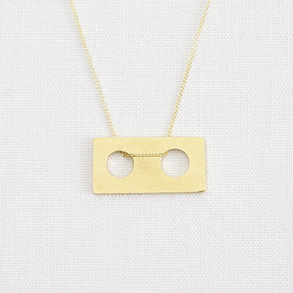 Gold Dainty Unisex Geometric Bauhaus Holes Necklace Pendant
