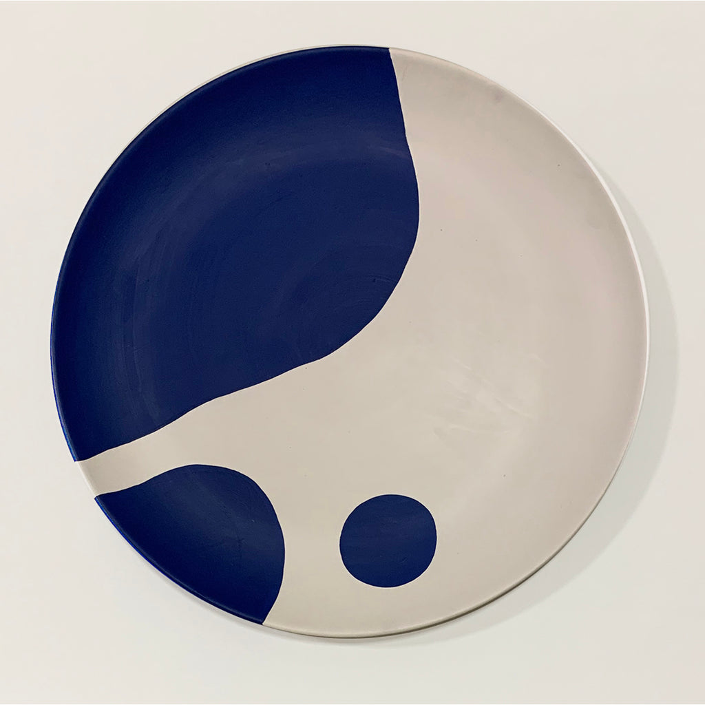 BLOB - hand-painted wall Plate - blue