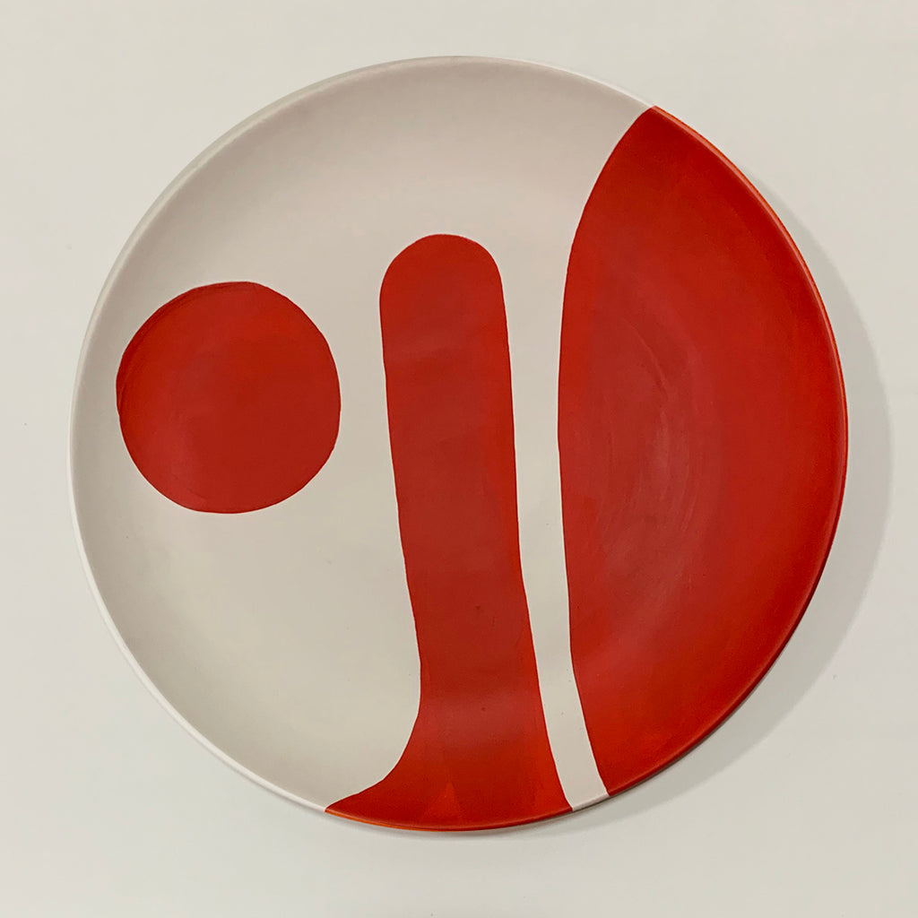 BLOB - hand-painted wall Plate - red