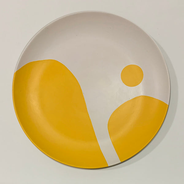 BLOB - hand-painted wall Plate - yellow