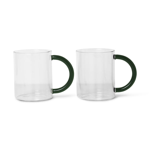 FERM LIVING GLASS MINIMALIST BLACK MUG COFFEE CUP TEA CUP