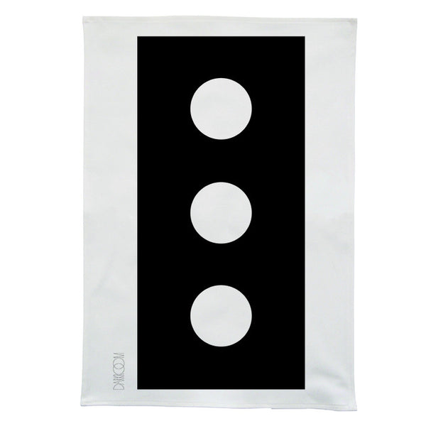 Darkroom Brick Bold Design Linen Tea Towel Black