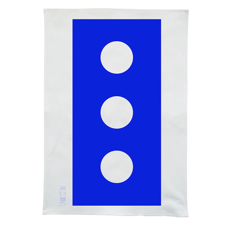 Darkroom Brick Bold Design Linen Tea Towel Blue