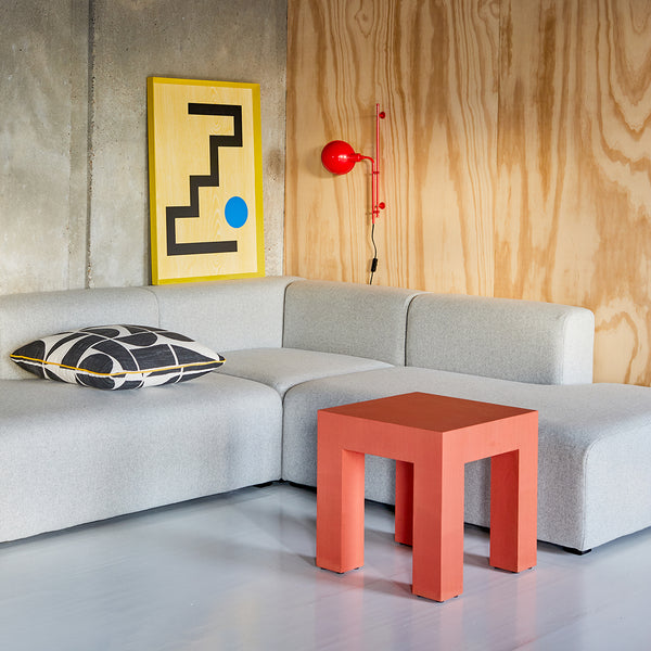 Darkroom Stained Wood Colourful Geometric Angular Furniture BLOK Bench Console Side Table Shelf Stool Mirror