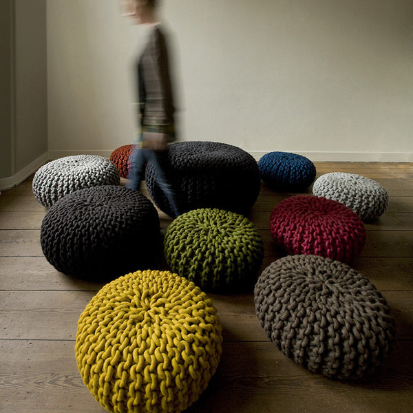 Urchin Chunky Knitted Pouf - Blue