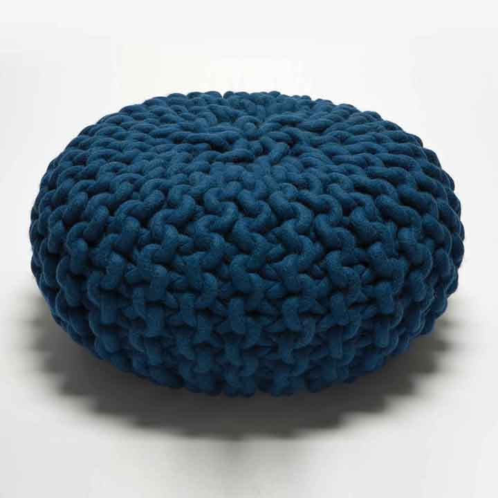 Urchin Chunky Knitted Pouf Blue Darkroomlondon Cool Knitting A Pouf