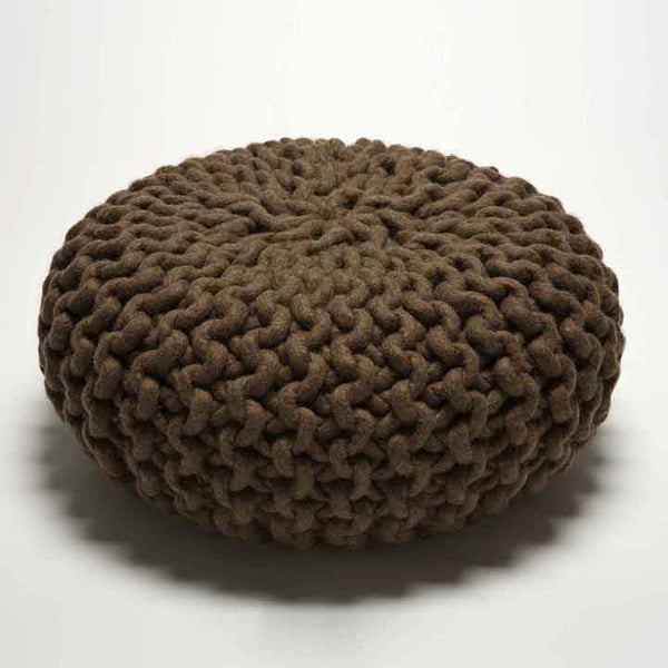 Urchin Chunky Knitted Pouf - Brown