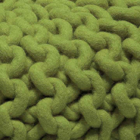 Urchin Chunky Knitted Pouf - Green