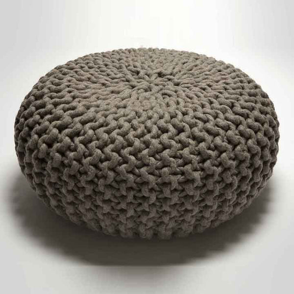 Urchin Chunky Knitted Pouf - Grey