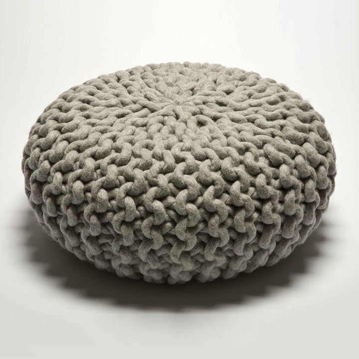 Urchin Chunky Knitted Pouf - Light Grey