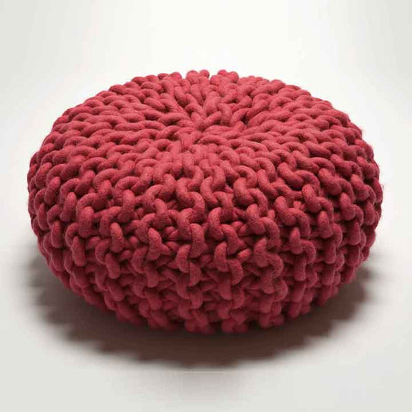 Urchin Chunky Knitted Pouf - Pink