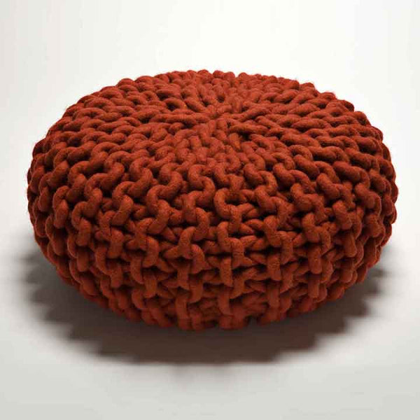 Urchin Chunky Knitted Pouf - Red