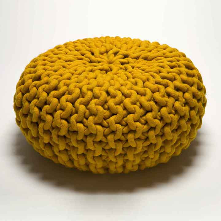 Urchin Chunky Knitted Pouf Yellow Darkroomlondon Magnificent Yellow Knit Pouf