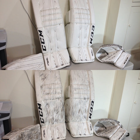 Puck Mark Removal Service - Goalie Pads