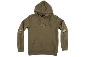 Dragon Embroidered Khaki Hoodie