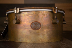 A&F 14 X 6.5 OLD HAVANA TIMBALE, RAW BRASS SHELL, WITH INTERNAL SNARE