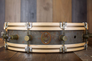 A&F 18 X 4 GUN SHOT SNARE DRUM, RAW BRASS, WITH FLOOR TOM LEGS AND BRACKETS