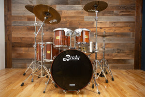 BRADY JARRAH 5 PIECE DRUM KIT, NATURAL JARRAH SATIN MADE IN 1990 (PRE-LOVED) (TAKING OFFERS)