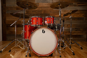 BRITISH DRUM COMPANY LEGEND SERIES 4 PIECE SHELL PACK, BIRCH SHELLS, BUCKINGHAM SCARLETT
