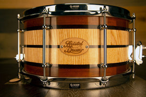BRISTOL DRUM CO 13 X 7 ASH/ IROKO / WENGE SEGMENTED SOLID WOOD SNARE DRUM