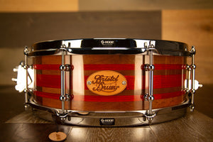 BRISTOL DRUM CO 14 X 5 BLACK WALNUT / PADAUK SEGMENTED SOLID WOOD SNARE DRUM