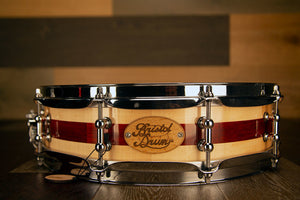 BRISTOL DRUM CO 14 X 3.75 MAPLE / PADAUK SEGMENTED SOLID WOOD PICCOLO SNARE DRUM