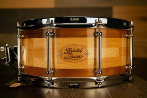BRISTOL DRUM CO 14 X 6 ASH / IROKO SEGMENTED SOLID WOOD SNARE DRUM