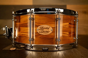 BRISTOL DRUM CO 14 X 6.5 IROKO / ZEBRANO SEGMENTED SOLID WOOD SNARE DRUM