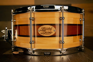 BRISTOL DRUM CO 14 X 6.75 ASH / JUTOBA WITH WENGE RINGS SEGMENTED SOLID WOOD SNARE DRUM