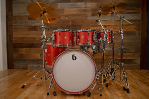 BRITISH DRUM COMPANY LEGEND SERIES 5 PIECE SHELL PACK, BIRCH SHELLS, BUCKINGHAM SCARLETT, SPECIAL CONFIGURATION