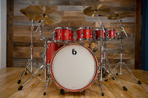 BRITISH DRUM COMPANY LEGEND SERIES 6 PIECE DRUM KIT, BUCKINGHAM SCARLETT - THE DRUMMERS REVIEW KIT! WATCH THE VIDEO