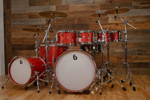 BRITISH DRUM COMPANY LEGEND SERIES SHELL BANK, BUCKINGHAM SCARLETT - BUILD YOUR OWN KIT SPECIFICATION