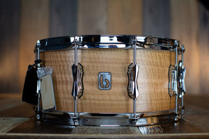 BRITISH DRUM COMPANY 14 X 6.5 MAVERICK 10 PLY MAPLE SNARE DRUM, EUCALYPTUS VENEER