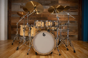 BRITISH DRUM COMPANY LEGEND SE SPECIAL EDITION 7 PIECE SPECIAL CONCEPT DRUM KIT, SPALTED BEECH