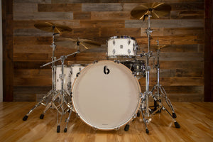 BRITISH DRUM COMPANY LEGEND SERIES 4 PIECE SHELL PACK, BIRCH SHELLS, PICCADILLY WHITE - SPECIAL CONFIGURATION