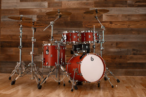 "BRITISH DRUM COMPANY LEGEND SERIES 5 PIECE SHELL PACK WITH 16"" BASS DRUM, BUCKINGHAM SCARLETT - SPECIAL CONFIGURATION"