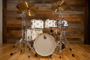 BRITISH DRUM COMPANY LEGEND SERIES 6 PIECE PROGRESSIVE BOP DRUM KIT, PICCADILLY WHITE - SPECIAL CONFIGURATION