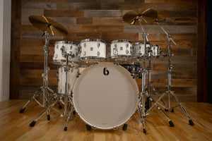 BRITISH DRUM COMPANY LEGEND SERIES 8 PIECE SHELL PACK, BIRCH SHELLS, PICCADILLY WHITE - SPECIAL CONFIGURATION