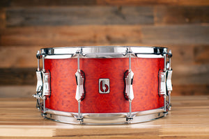 BRITISH DRUM COMPANY 14 X 6.5 LEGEND SERIES SNARE DRUM, BUCKINGHAM SCARLETT