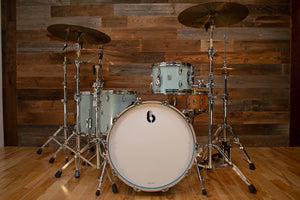 BRITISH DRUM COMPANY LEGEND SERIES 4 PIECE SHELL PACK, BIRCH SHELLS, SKYE BLUE EXO-TONE