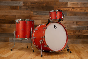 BRITISH DRUM COMPANY LEGEND SERIES 3 PIECE SHELL PACK, BIRCH SHELLS, BUCKINGHAM SCARLETT