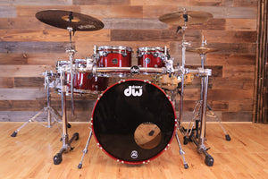 DW (DRUM WORKSHOP) COLLECTORS II BIRCH 5 PIECE DRUM KIT, CHERRY RED LACQUER (PRE-LOVED)
