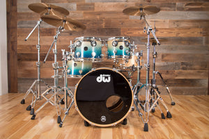 DW (DRUM WORKSHOP) COLLECTORS SERIES II, 4 PIECE DRUM KIT, REGAL BLUE TO NATURAL SATIN FADE SPECIALITY, (PRE-LOVED)