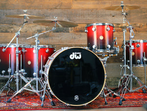 DW COLLECTORS SERIES II MAPLE 6 PIECE DRUM KIT, RED TO BLACK SATIN FADE (PRE-LOVED)