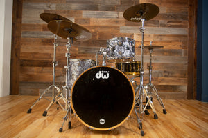 DW COLLECTORS SERIES 3 PIECE DRUM KIT, GREY MARINE FINISH PLY, (PRE-LOVED)