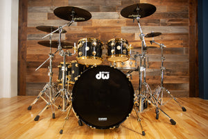 DW (DRUM WORKSHOP) COLLECTORS SERIES, 5 PIECE DRUM KIT, BLACK MIRRA SPECIALITY LACQUER, 24K GOLD FITTINGS (PRE-LOVED)